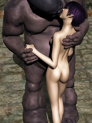 Luscious 3D Bitch gets rammed hard by Toon Orc