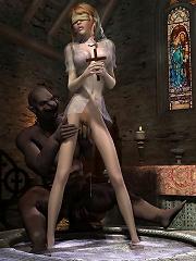 3D Hooker chokes on hot Demon till gets screwed