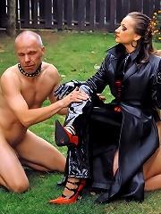Femdom Tyrannizes Two Man Slaves