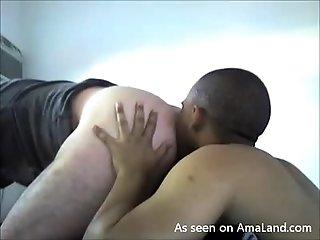 Ebony Hunk Giving His White Bf A Rimjob