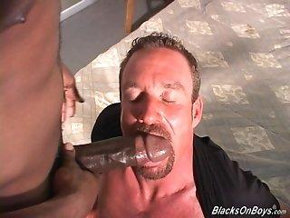 Horny Bearded Daddy Derek Gets His Ass Slammed By Black Hunks
