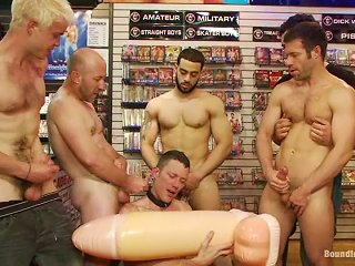 A Lewd Homosexual Gets His  Toyed And Fucked In A Shop