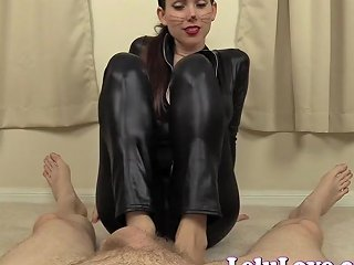 Lelu Love Catsuit Black Polish Footjob Cum On Toes Porn 6a