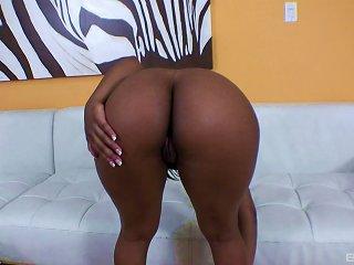 Sexy Big Ass Black Chick Vigorously Fucking Herself With A Dildo