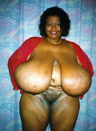 Norma has the biggest black boobs in the world. This sexy mature black women has 72ZZ black boobs and has no problem letting you h