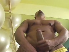 Sensual dude jerking his hard cock off at the gym and cum