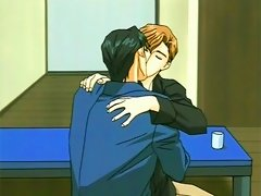 Gay anime couple in apartment kissing and makeout
