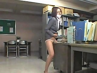 Office Lady Rubbing Her Pussy To The Desk Masturbating With Toys On The Floor In The Office