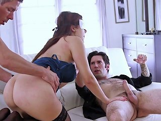 Kinky Cutie Gets Blindfolded And Fucks Two Total Strangers