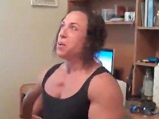 Female Bodybuilder Practicing Dick Sucking