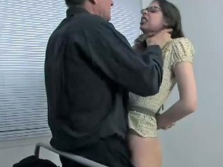 Ugly Nerdy Pigtailed Brunette Gets Hands Tied Up Behind Back And Mouth Banged