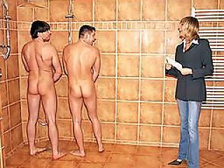 Blonde Milf Has A Threesome With Two Horny Guys As She Walks In A Men's Shower