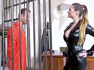 Strict Judge In Sexy Latex Corset Cathy Heaven Enjoys Banging One Arrested Dude