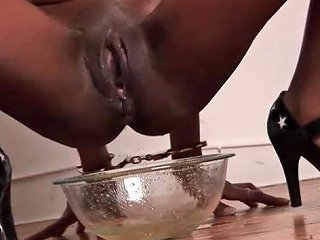 Gagged Black Girl Pisses Into A Bowl