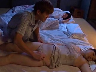Aroused Husband Tempted To Unpin His Sleeping Wife's Panties Before Fingering Her Seductively