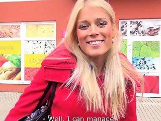 Takevan Blonde Cutie Speak Too Much And Get Cum On