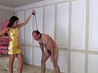 Brunette Slave Ballbusting With Cumshot