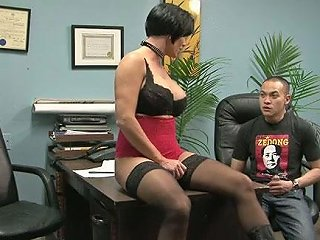Curvaceous Milf Dominates On Handsome Asian Dude So She Kicks His Balls