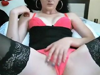 Sexy Slender Brunette In Red Panties Spreads Her Legs For T