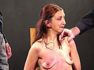 Cruel Boob Whipping For Redhead