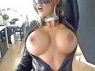 Extraordinary Striptease Scene From Busty Slut In Leather Drtuber