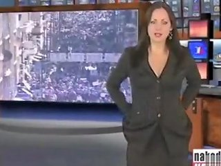 Brunette Beauty Strips Nude During A News Broadcast