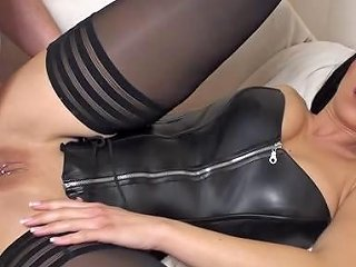 Ass Fucked In A Black Leather Corset And Stockings Porn E3