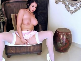 Magnificent Brunette Nina Leigh Rubbing Her Clit In Sexy Lingerie