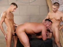 Hot hunks Nick Nolan and Thai Mattox top a big muscle stud Max Summers