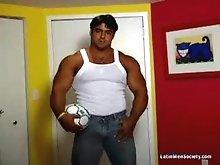 Muscle latin man posing naked