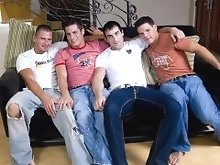 Spencer Reed calls Xander Scott over for a circle jerk and he brings along Rocky Houston and Kenny Cross for the ride.  These four hot and horny guys
