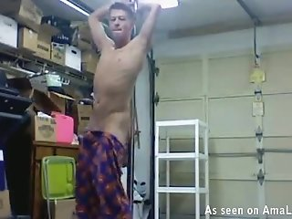 Blonde Twink Pole Dancing In A Warehouse