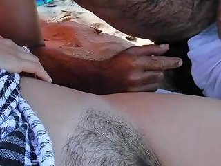 Wife Shows Cunt To Men On Beach And Wanks One Old Scum