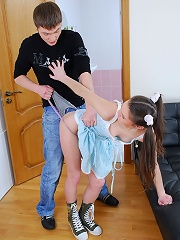 Ponytailed teen fucked by a stranger
