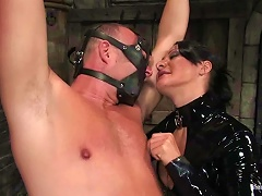 Hot Mistress In Latex Suit Is Torturing Her Lover