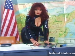 Two Lesbians In Latex Fucking On The American Flag