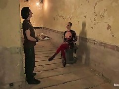 In Latex Outfit Maitresse Madeline Pegging And  A Guy