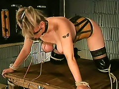 Tied Up Girl In Latex Corset