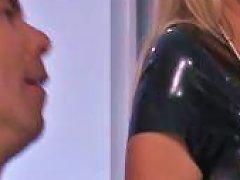 Latex Babe Blows Her Stud Before She Fucks Him