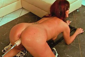 Wanton Brunette Mom Gets Her Stretched Vagina Fucked Up With Dildo Machine