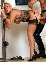 Leggy Lana is jailed and forced to suck a hard cock