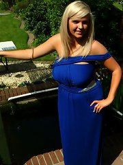 British big boob teen Ellie in sexy blue dress