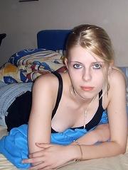 Pale blonde teen spreading