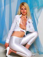 Sexy blonde in tight white leggings