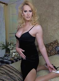 Fit British tranny in a hot black dress