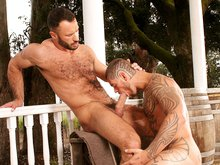 Hairy muscle men Logan McCree & Wilfried Knight have sex outdoors