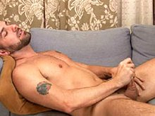 Hairy mature bear Preston Steel shows his nice ass, plays with a big dildo and masturbates his big cock